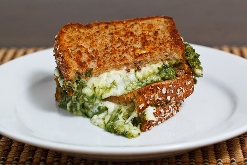 gluttonyisabliss:  Spinach Pesto Grilled Cheese Sandwich (by Kevin Lynch)