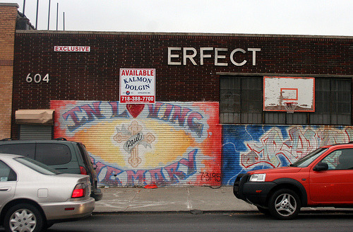 Nobody's Perfect, as demonstrated by these sign makers in Gowanus, Brooklyn