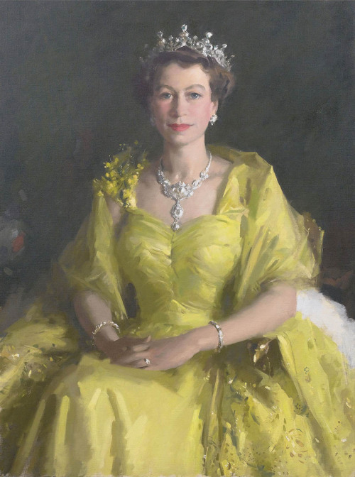 Portrait of Queen Elizabeth II after her coronation by Sir William Dargie, 1954.