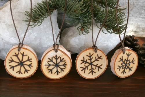 Snowflake Ornaments  Set of 4  Woodburning by TwigsandBlossoms