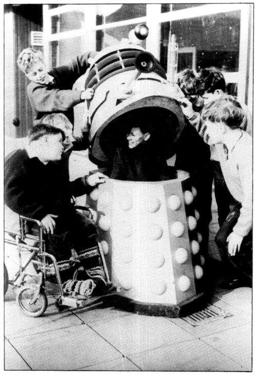 The BBC donated two of the original Dalek props to the Dr Barnardo's Homes for Children after the airing of their debut episodes in 1964. Taken from the Doctor Who fanzine The Frame (1987).