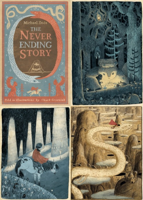 The Never Ending Story. - love these gorgeous illustrations by Chuck Groenink. I look forward to finding this book written by Michael Ende.