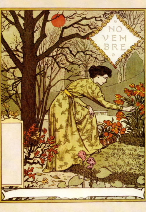 turnofthecentury:  La Belle Jardiniere - Novembre (1896), Eugene Grasset another treat from Bob Young,thanks;]