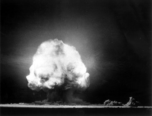 Mushroom cloud from first atomic test, Trinity Site, New Mexico, July 16, 1945. That wonder comes from knowledge as well as mystery is central to the impact of this image, that of the first atomic bomb explosion (and the one that most resembles the fungi that gave the resulting cloud its name). We dissected forces much smaller than ourselves to barely control a force much larger. But comprehension does not necessarily entail domestication. Nature is not our pet. (posted by Peggy Nelson/@otolythe)