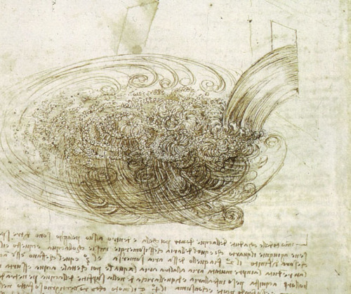 "Leonardo da Vinci, Study of water falling into still water, c. 1508-9. I first saw this image, or a reproduction of it, in an exhibit that paired it with an actual faucet of water, pouring into a pool. The idea was that by looking at the water and the da Vinci side-by-side, you could try to see what he saw. Yeah, pretty much not one line. What I saw was ""water,"" and the homogeneity of the symbol blurred all the details into one. But Leonardo was able to visually isolate forces, and translate them into lines of motion, despite speed and transparency. If we could inject the water with threads of dye and freeze-frame it rushing through, we could slow it down enough to see what he saw at speed. It's amazing that there's all that detail and differentiation in rushing water. And it's even more amazing that he, or *anyone, could actually see it. (posted by Peggy Nelson/@otolythe)"