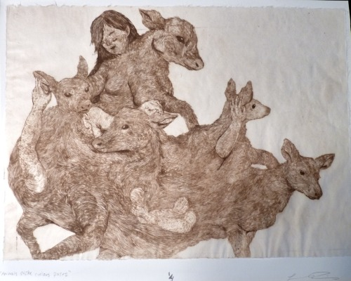 Animals Strike Curious Poses :: Intaglio Print — I won a 50 dollar award for this print at a show in May. — I've not done ANY (Almost Any?) art since I graduated. Because I am lazy and terrible. — Do you get what song the title is referencing?