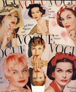 Vogue covers featuring famed fifties model, Anne St. Marie.
