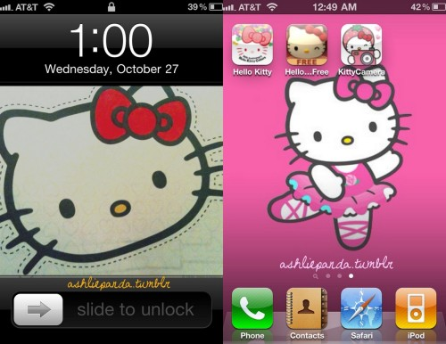 My Hello Kitty Home background/Lock background for my iPhone 4 / ashliepanda