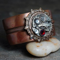 Copper Steampunk Cuff Bracelet with Vintage by earthfirestudios