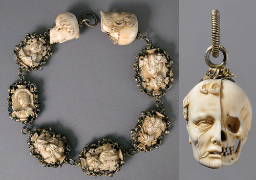 alysian-fields:  This is amazing. It's a rosary from 1500-25. Each bead of the rosary represents the bust of a well-fed burgher or maiden on one side, and a skeleton on the other. The terminals, even more graphically, show the head of a deceased man, with half the image eaten away from decay. Such images served as reminders that life is fleeting and that leading a virtuous life as a faithful Christian is key to salvation.Source: Rosary [German] (17.190.306) | Heilbrunn Timeline of Art History | The Metropolitan Museum of Art