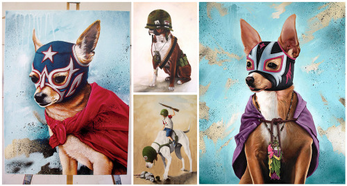 """Luchahuahua"" and other dog paintings by China Mike."