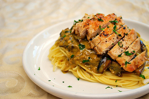 Chicken with pesto mushroom cream sauce over spaghetti