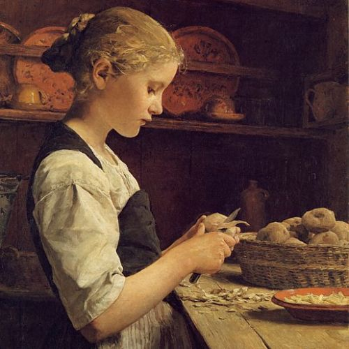 madcrow:  Albert Anker | Girl, Peeling Potatoes