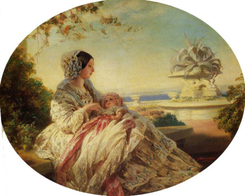 Queen Victoria with Prince Arthur by  Franz Xaver Winterhalter (1805-1873), 1850. One of my favorite Queen Victoria paintings :)