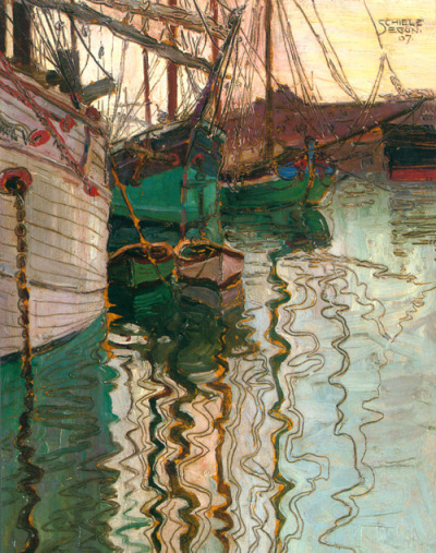 treee:sanilas  Sail Boats in Water, Egon Schiele, 1907