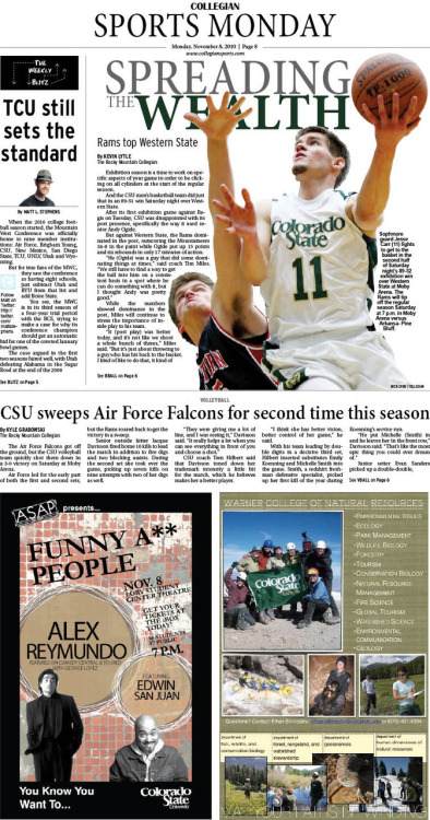 Monday, November 8, 2010. The Rocky Mountain Collegian Sports Monday. Page designed by Chief Designer Greg Mees.