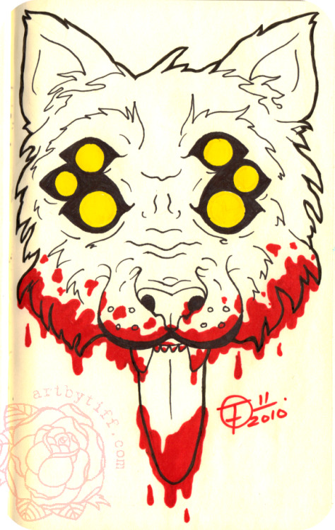 "Six eyed wolf….lolWasn't planned with six eyes. I was sketching out ""locations"" of the eyes…and I liked where they all were hahahaI'm  not happy with the line work. I seemed to have misplaced my regular  thick sharpie, so I had to use little ones :/ bummer. I hate loosing  them. Oh well :PSharpies on Moleskine."
