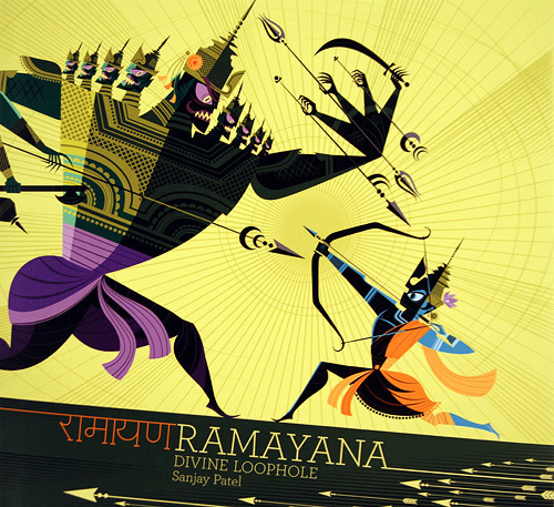 captainwaycool:  Ramayana: Divine Loophole, a gorgeous retelling of a Hindu epic by Pixar animator Sanjay Patel. Purchased immediately after a mere glance at the front cover. Considering cancelling my order from Amazon and picking it up from a brick-and-mortar bookseller this afternoon. Love at first sight is real! (For books!)  As someone who's not religious but was raised Hindu, this looks bad-ass.