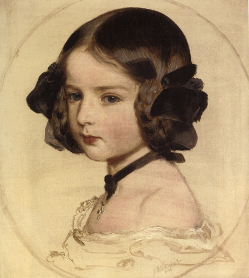 Princess Clothilde von Saxen Coburg by Franz Xaver Winterhalter (1805-1873), 1855. Her hair is adorable!