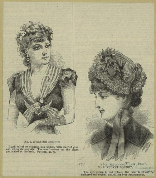 Illustration of an evening bodice and velvet bonnet from either 1891 or 1883 (the wannabe future archivist in me groans).