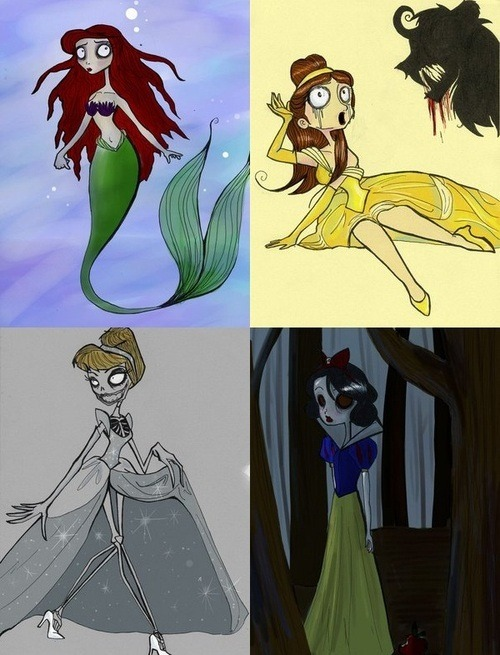 Ariel, Belle, Cinderella and Snow White according to Tim Burton.