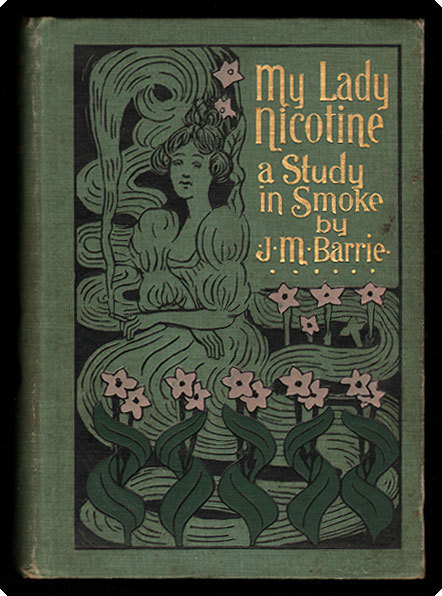 "book-aesthete:  My Lady Nicotine. A study in smoke J.M. Barrie.  Boston: Joseph Knight Co., 1896 (© 1895). First American edition of one of the great classics of smoking literature, in a beautiful decorated publisher's binding. This ode to the incomparable joys of tobacco was written by Barrie, best known as the creator of Peter Pan; the humorous tales of the pleasures and pitfalls of dedicated smoking are recounted by one who has married and ""quit"" but still dreams of the bachelor days with pipe, the cigarette, and the cigar, all three. Here they are for the first time illustrated by American Impressionist painter Maurice B. Prendergast, who supplied a profusion of winsome, smoke-wreathed sketches and scenes for this, one of only two books he illustrated himself.  Interior image:"