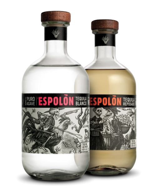 Espolon Tequila's new packaging and accompanying campaign takes a stylized (and slightly morbid) route. I love the Dia de los Muertos imagery - a Mexican heritage technique that has yet to be embraced by many other tequila companies.