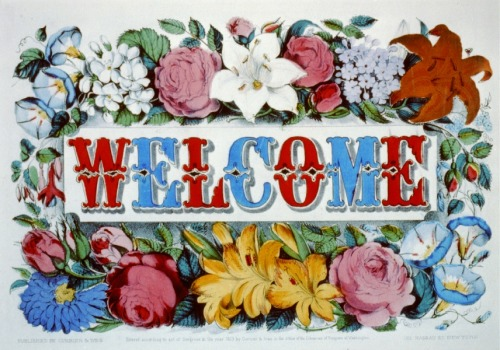 """Welcome,"" a lithograph by Currier & Ives, 1873."