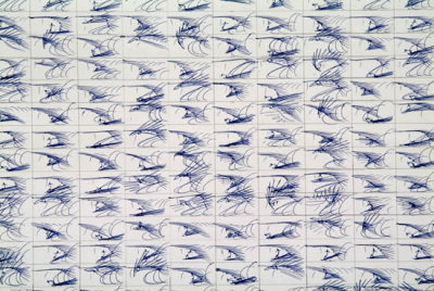 Surf Drawing Blue (Russell Crotty) - gestural drawings of waves and surfers in ballpoint pen via Surf Works