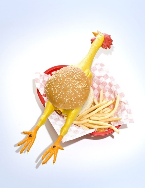 tumblrrinserepeat:  Rubber Chicken Burger by Darryl Bernstein rubberbabybuggybumpers