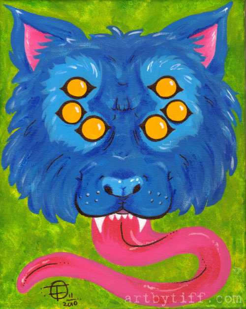 'Nother crazy wolf! Acrylic paint on 8x10 stretched canvas. For sale on my Etsy :)
