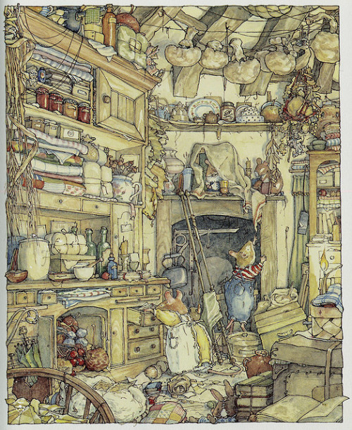 fairlightday:  girlyme:  Brambly Hedge: The Secret Staircase by Jill Barklem (by Julia Bailey)  one of my most favorite books as a child, and still is today.