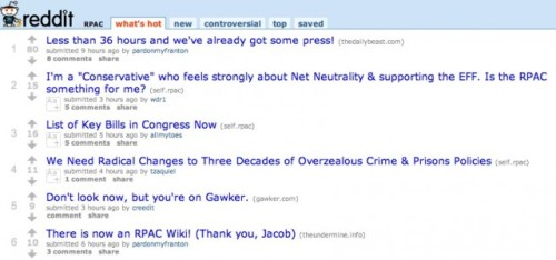 Spiffy: Reddit users build their own political action committee So, to anyone who thinks Reddit is just a bunch of silly videos and a meme machine, here's probably the most interesting use of the site so far. A Reddit political action committee. Their issues? Net neutrality, campaign finance reform, and a general emphasis on progress before profit. This is why Reddit is different. We don't see anyone making a DiggPAC. source Follow ShortFormBlog