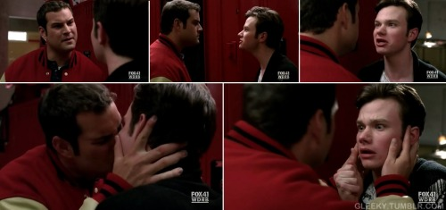 KAROFSKY: Do not push me, Hummel. KURT: You gonna hit me? Do it. KAROFSKY: Don't push me! KURT: Hit me, because it's not going to change who I am. You can't punch the gay out of me any more than I can punch the ignoramus out of you. KAROFSKY: Get out of my face! KURT: You are nothing but a scared little boy who can't handle how extraordinarily ordinary you are!