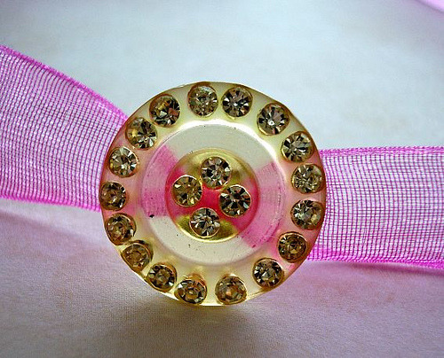 Raspberry Sunshine Vintage Button Choker (by Renee Hoyle)
