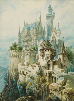 earwigbiscuits:  Sketch for Falkenstein Castle by Christian Jank, 1883. Falkenstein was the last project of King Ludwig of Bavaria - the ruins of a medieval castle, west of Neuschwanstein and perched a thousand feet higher on an even more spectacular mountain crag, that he planned to rebuild in mock-Gothic splendour. Though the royal purse was almost empty, the King vexed a succession of Court Architects by rejecting any attempt at practicality or economizing. The last men on the job pleased him with ever more costly and fanciful designs, knowing that nothing would ever be built, and Ludwig died in the midst of the fourth rework of the plans for the Royal Bedroom.