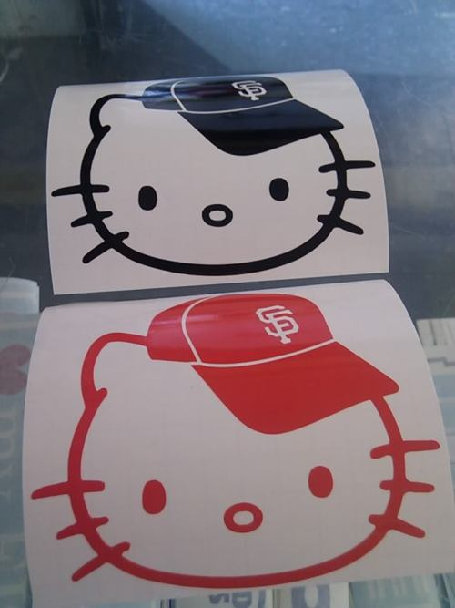 Hello Kitty wearing an SF Giants hat! Get these stickers on Ebay.