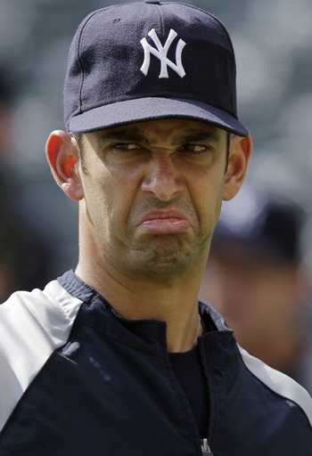 Yankee Frown…The 2011 New York Yankees Designated Hitter…Jorge Posada via yankeesftw:  Jorge not happy