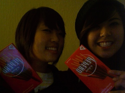 sunrise2pmsunset2pm:  celebrating pepero day with mah frand :)  YAAAYYY Happy Pepero Day! So Korean…  :D