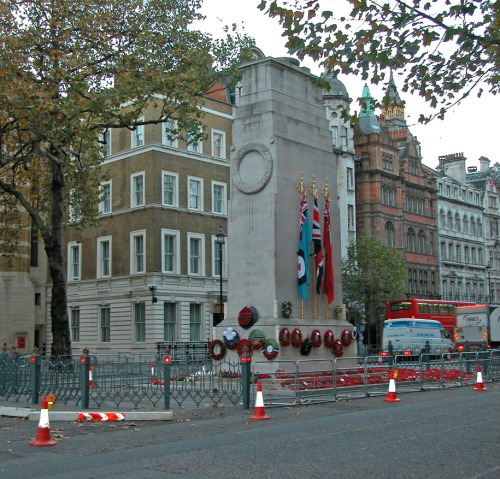 The Cenotaph, London. It commemorates specifically the victims of the First World War, but is used to commemorate all of the dead in all wars in which British servicemen have fought.    Patrick Baty of Papers and Paints was commissioned to carry out the paint analysis of the railings that are placed at each end of the monument at Remembrance Sunday.