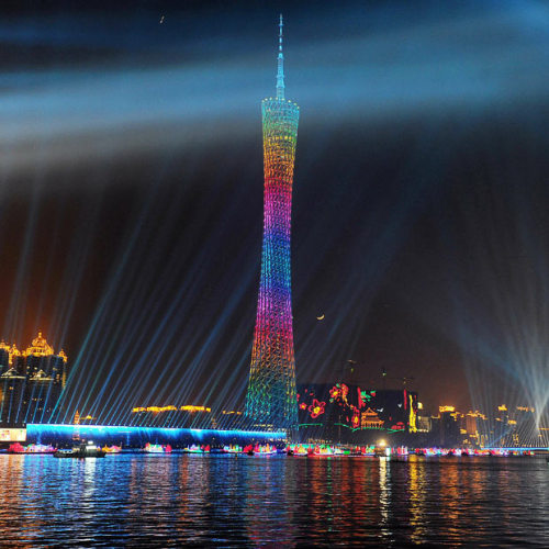coquitove:  jonwithabullet:  The Canton tower illuminates the sky over the city during preparations for the opening ceremony for the 16th Asian Games in Guangzhou , China  The Asian Games start tomorrow… and just for the record, this is only 4 blocks away from my house.