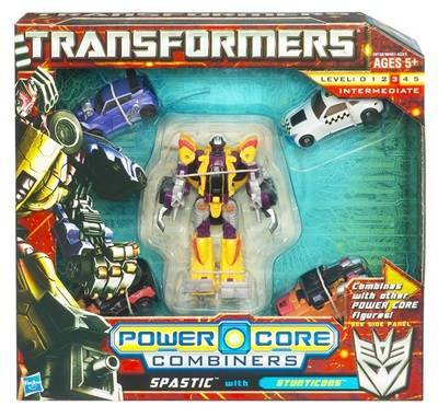 "New Powercore Combiner Transformer named Spastic.  ""Spastic"" is the UK equivalent of calling someone a ""Retard"" in America.  And in case one is wondering if this is simply an instance of culture clash,  TFA Snarl here was originally going to be named ""Slag"" like his G1 counterpart until the marketing whizzes at Hasbro learned that ""Slag"" is a UK term for prostitute.  Full marks, Hasbro!"