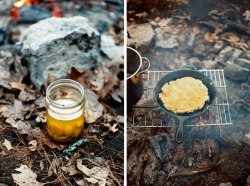 Two of the best and easiest things to have on a cold camping trip is a piece of torn campfire bread (also known as bannock) right off the skillet with a little garlic confit spread on top. The bread is crispy on the outside and soft, chewy and warm on the inside. The garlic confit is savory, a little sweet and spreads like butter. Just sprinkle some coarse sea salt and freshly cracked pepper on top. Campfire Bread / Bannock 2 C flour2 T baking powder2 T sugar (or less if you prefer it less sweet)2 pinches saltWater - Mix together all dry ingredients. Add water until the consistency is more like a wet dough.- Heat some butter or oil (or both!) in a skillet, pour in the dough and spread with a fork. Cook on one side until nicely browned. Turn over and cook until the other side is nicely browned. Probably 10-15 minutes total on a stove but could vary if cooking over campfire.-Cut into slices or just tear some off and enjoy! Garlic Confit As many garlic cloves as you'd like to use (I used about 5 heads of garlic here)a few sprigs of thyme2 bay leavesvegetable and olive oil -Peel garlic cloves and place in a sauce pan- Add in the herbs and enough oil (equal parts veg & olive oil) to barely cover the cloves- Simmer for an hour.