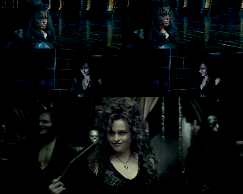 Top 5 Favorite Harry Potter characters Number 3: Bellatrix Lestrange Bellatrix Lestrange is a bitch. It's true. We all hate her for torturing Frank and Alice Longbottom, killing Dobby, torturing Hermione and killing Sirius Black. She's so psychotic, so selfish, so utterly cruel… I love her. Her loyalty to Voldemort is unsurpassed. She's so damn loyal to her master that she's come close to deceiving him, just to please him. Her self preservation is an entirely other story, and yet, she laughs in the face of death. She literally laughs. Even now, her taunts and giggles from battle are just echoing in my head. I killed Sirius Black.