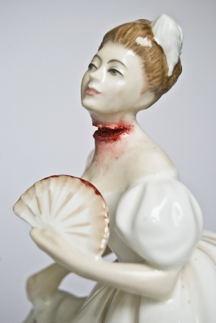 These brilliant porcelains of Victorian women with gory wounds by Jessica Harrison seem to be making the rounds, but I offer them here in case someone out there hasn't seen them yet.  Click here for the full gallery.