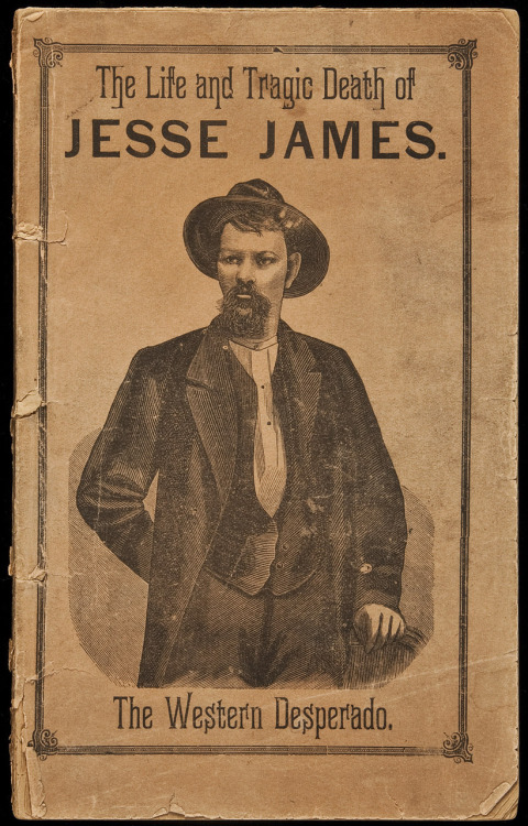 "Jesse James: The Life and Daring Adventures of This Bold Highwayman and Bank Robber and His No Less Celebrated Brother, Frank James. Together With the Thrilling Exploits of the Younger Boys. Written by ***** (One Who Dare Not Now Disclose His Identity.) The Only Book Containing The Romantic Life of Jesse James and his Pretty Wife Who Clung to Him to the Last! Philadelphia, Barclay & Co, 1886  19)-96 pp. Woodcut illustrations. (8vo), original pictorial wrappers. Housed in custom folder. Third Printing.  Woodcut portrait of Jesse James on front wrapper and of Jesse's father on rear wrapper (neither correct).    B-A Note:  ""Written by One Who Dare Not Now Disclose His Identity"" - and neither portrait is correct.  Hmm… might not pass the sniff test, but still a classic little book with a thrilling title!"