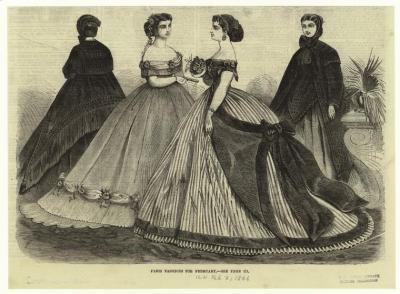 Parisian dresses, February 1866 I'm going to be making the striped ballgown, and I'm accenting it with violet! It's for an event this summer, and I promise to post photos once it's complete :)