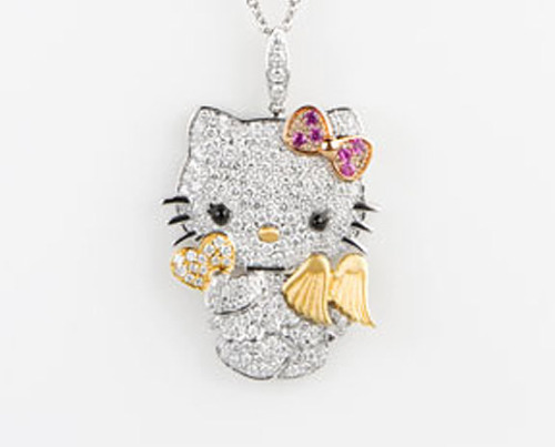 Hello Kitty Wings 18K Gemstone & Diamond Pendant - $7,000