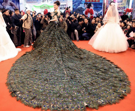 allllthatglitters:  This dress has 2,009 feathers. Must have been a bitch to hand sew every one!  Okay, now make it in a tuxedo.