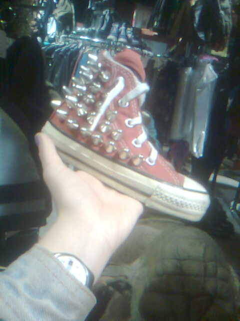 SHOE ASPIRATIONS. It's time for new chucks anyway, why not retire the Flash ones in style? FACTWAGON: I have underwear that matches my FLASH shoes. I'm aware of the unsavory sexual implication that I'm the fastest man alive, but are you aware that fuck you? PS, I think this is in Search and Destroy on Saint Mark's. I've totally put up a picture of that silver jacket before.